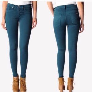 Hudson brand dark teal skinny jeans